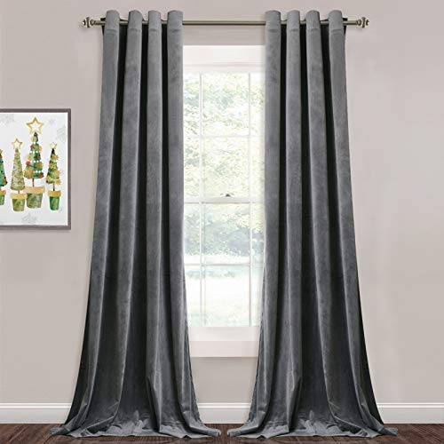 StangH Grey Velvet Curtains for Living Room - 96 inches Long Light Blocking Velvet Curtain Panels Privacy Grommet Window Drapes for Bedroom/Sliding Glass Door, W52 by L96 inches, 2 Panels