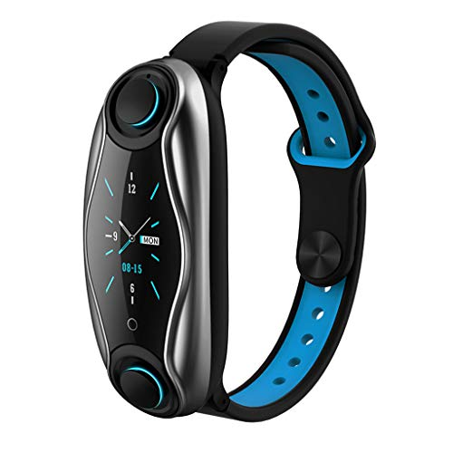 T-90 Smart Bracelet for Android for iOS Call Wristband Headset 2 in 1 Smart Watch, Smart Noise Reduce Touch Control IP67 Waterproof Sports and Fitness Tracker (Blue)