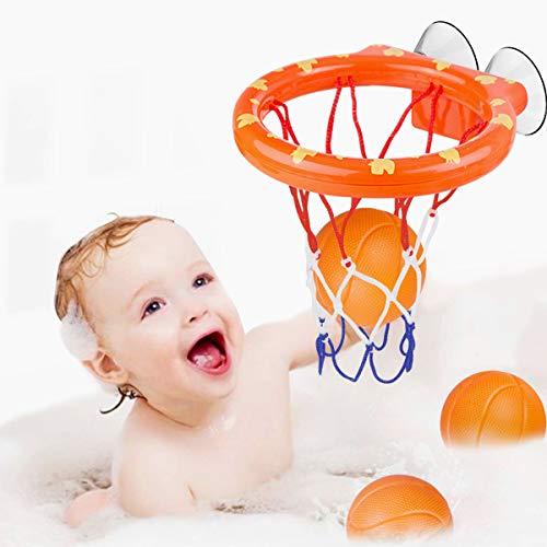 WEARXI Wasserspielzeug Badespielzeug Baby, Ostergeschenke Kinder Badewannenspielzeug Bällebadewannen Basketballkorb, Jungen Mädchen Bad Spielzeug Geschenk für Kinder pielzeug Basketball, 3-Ball