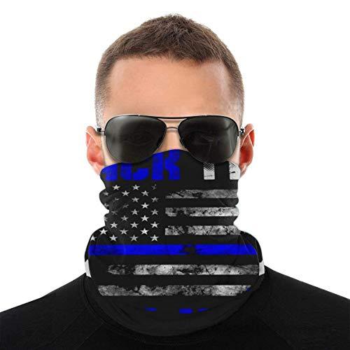 OUY Back the Blue Thin Line Police Support Blue Lives Transpirable Neck Guard Leg Guard Mascarilla facial bufanda turbante pasamontañas sombrero bufanda hombres y mujeres máscara facial