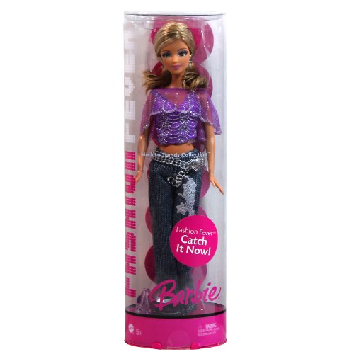 Barbie Mattel Year 2006 Fashion Fever Modern Trends Collection Series 12 Inch Doll with Purple Lace Tops, Denim Pants, Purse, High Heel Shoes and Display Stand (K9809)