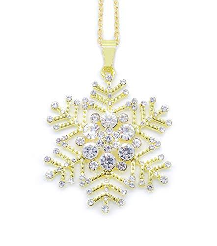 onweerstaanbaar1 Feestelijke sneeuwvlok ketting met witte kristallen op een 38 cm lange gouden metalen ketting + 7 cm lange verlenging in gouden toon