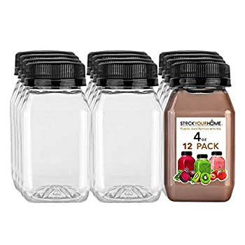 Stock Your Home Plastic Juice Bottles with Lids Juice Drink Containers with Caps for Juicing Smoothie Drinking Cold Beverages 4 Oz 12 Count