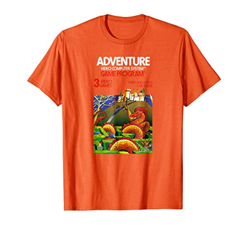 Atari Adveture Game Cover T-shirt, Orange for Men, Women, S to 3XL