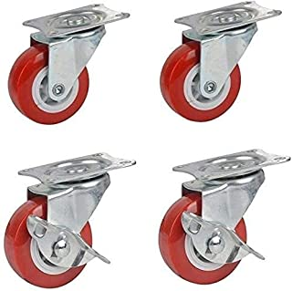 4pcs Wheels, 50-63mm Universal Casters Swivel Chair Trolley Casters, Caster Backpack Trunk Wheels, Transport Brake Casters...