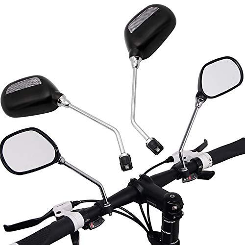 Miafamily Lot de 2 Rétroviseurs Pour Vélo et Moto Verre - Rotatifs à 360 degrés D'Arrière Vélo Miroir Moto Et Vision Pour Montagne Vélo De Route Universel Pour Les Cyclistes (Noir)