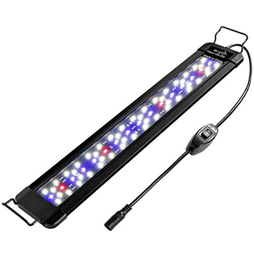 "MingDak LED Aquarium Fish Tank Light Fixture,Full Spectrum Lighting for Freshwater Planted Aquariums,Slim & Thin Aluminum Housing,Extendable Brackets Fit 18"" to 24"" Fish Tank"