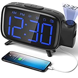 ELEHOT Projection Alarm Clock FM Radio Alarm Clock Digital Clock with Power Adapter Alarm Clocks for Bedrooms