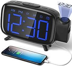ELEHOT Projection Alarm Clock, FM Radio Alarm Clock, Digital Clock with Power Adapter, Alarm Clocks for Bedrooms