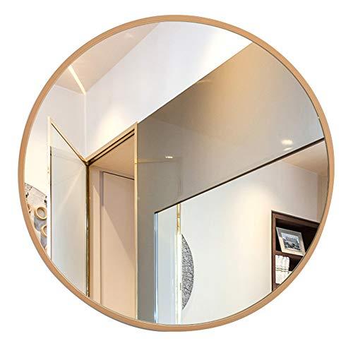 Bathroom mirror Espejo, Espejo de baño Espejo de Maquillaje Espejo Marco de Madera Espejo Redondo Espejo de Pared (Color : Color Madera, Tamaño : 60cm)