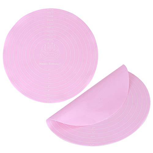 Almohadilla para amasar tartas, 2 piezas antiadherente, redonda, de silicona, para masa, para hornear, para hornear, repostería, revestimiento de láminas para tartas, soporte giratorio para hornear, c