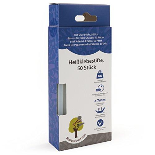 ProfessionalTree 50 Heißklebesticks - 7 x 150 mm rund - Extra Power Klebstoff für gängige Heißklebepistolen - Klebesticks 7mm transparent lösemittelfrei schnelltrocknend