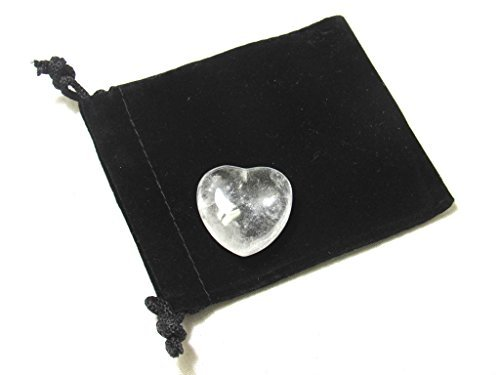 Zentron Crystal Collection 30MM All Natural Polished Pocket Gemstone Crystal Puff Heart and Velvet Pouch (Clear Quartz)
