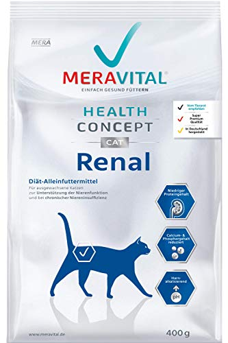 MERAVITAL Renal Katzenfutter trocken 1 x 400 g für Katzen bei Nierenerkrankungen - Niedriger Proteingehalt zur Entlastung der Nierenfunktion
