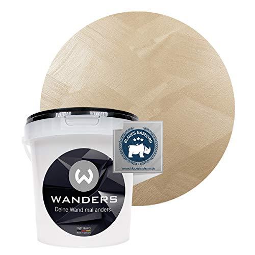 Wanders24® Edel-Metallic (1 Liter, feines Gold) Wandfarbe Metallic - zum Streichen im Metallic Look - in 5 edlen Farbtönen erhältlich - Made in Germany