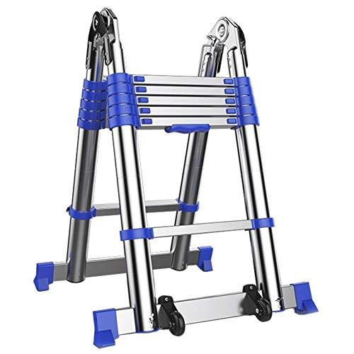 Telescopische Ladder A Frame Multi-purpose - Aluminium Folding telescopische uitschuifbare ladder Met Ondersteuning Bar en wielen - maximale belasting 150kg (Maat: 12.47ft / 3.8m = 1.95m + 1.95m) 8bay