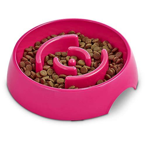 Harmony Pink Plastic Slow Feeder Dog Bowl, Large