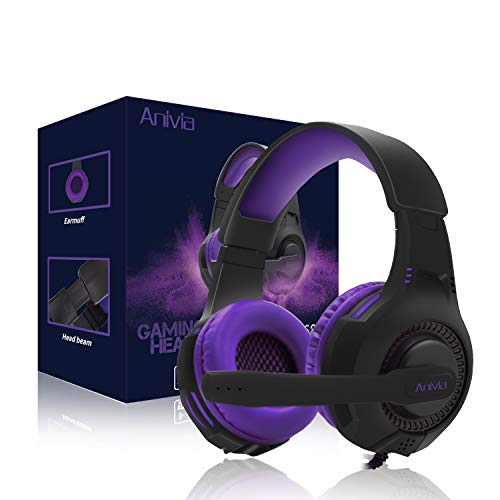 PS4 Gaming Headset,AH68 3.5mm Wire Over Ear Headphone with Microphone for Xbox One, Laptop Mac,Gaming Headphones with Bass Surround Noise Cancelling Earmuffs for PC/Mac/PS4/PS5 (BlackPurple)