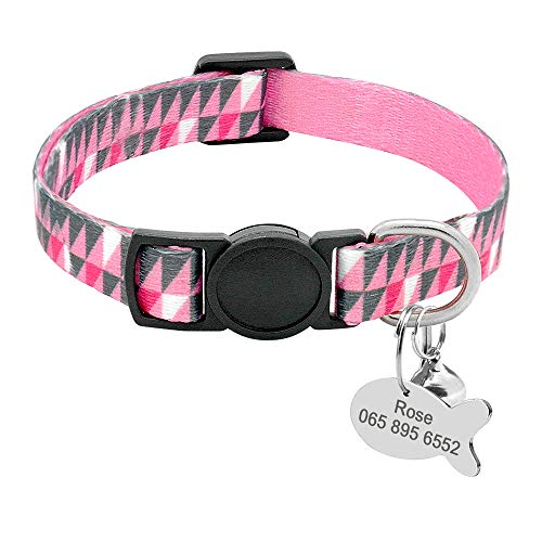 PET ARTIST Personalized Cat Collars with Engraved Fish Shaped Pet ID Tags - Kitten Cat Breakaway Collar with Quick Release Safe Buckle & Bell - Adjustable Pet Collar Fit All Domestic Cats,7-11.5'