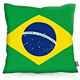 VOID Brasilien Brazil Polyester Kissenbezug Flagge Fahne Fan-Kissen Kissenhülle Outdoor Indoor Bunt, Kissen Größe:50 x 50 cm