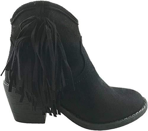 Damen Stiefeletten aus Wildlederimitat, mit Fransen, seitlicher Reißverschluss, Blockabsatz, Größe 36-42, Braun, Schwarz - Schwarz  - Größe: 39 EU