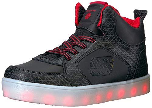 Skechers Jungen Energy Lights Tarvos Sneaker, Schwarz (Black/Red), 35 EU