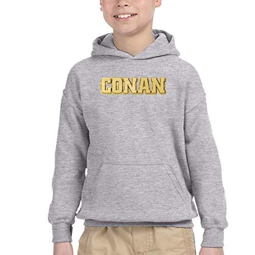 Children's Conan Gold Logo Handsome Kangaroo Pocket Hoodies with Hat for Autumn-2T