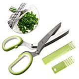 nuoshen Kitchen Scissor, High Quality Herb Scissors 5 Blades Stainless Steel Great Kitchen