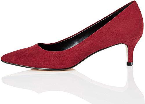 Marca Amazon - find. CONNIE-S2C1-Court Zapatos de tacón con Punta Cerrada, Rojo (Burgundy), 40 EU
