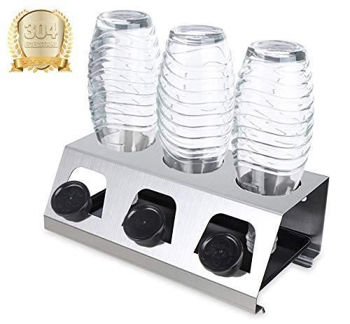 Homewit Premium Flaschenhalter 30*15,5*11 cm | Abtropfständer aus Edelstahl mit Abtropfwanne | 3er Abtropfhalter für z.B Soda Stream Crystal, Easy, Glaskaraffe, Sprudlerflasche | spülmaschinegeeignet