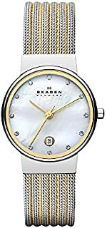 Skagen Women's Ancher Quartz Two-Tone Stainless Steel Mesh Dress Watch, Color: Silver and Gold-Tone (Model: 355SSGS)