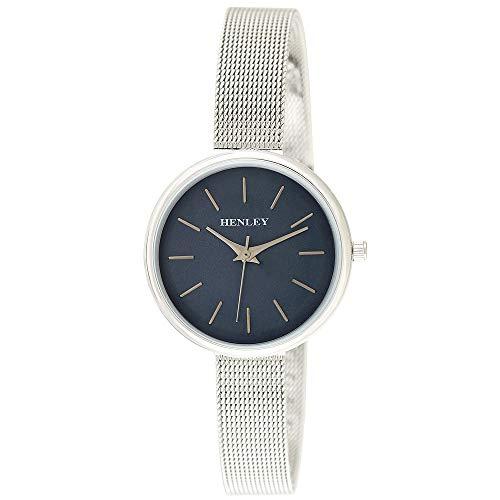 Henley H07298.6 Damen-Armbanduhr, minimal, Netzstoff, Top-Loader-Uhr, mit blauem Zifferblatt