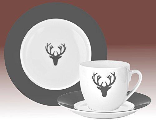 Van Well Hirsch grau Kaffeeservice, 18-tlg. für 6 Personen, Kuchenteller + Kaffeetasse und Untertasse im Set, edles Marken-Porzellan, Weihnachtsdekor