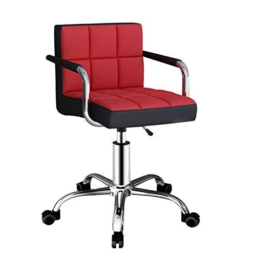 Barstol modern svängbar barstol stol med rygg PU-läder bistro pub 360° universell hjul barstol lämplig för barer köksbänk, röd