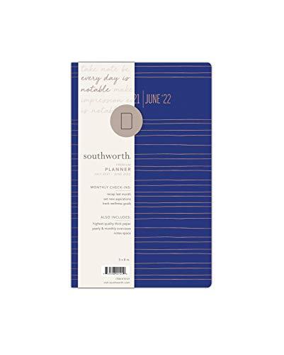 "Southworth Academic Planner (July 2021-June 2022), 5"" x 8"", Cobalt Metallic Stripe, Premium 28#/105 gsm Paper, Flex (92121)"