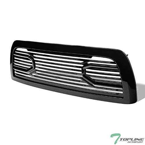 Topline Autopart Glossy Black Big Horn Style Front Hood Bumper Grill Grille ABS with Shell For 10-18 Dodge Ram 2500/3500 / 4500/5500