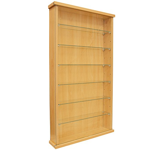 WATSONS COLLECTORS - Wall Display Cabinet With Six Glass Shelves - Beech