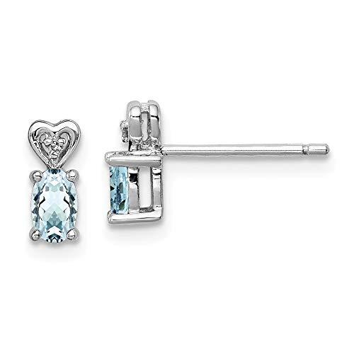 Broche de plata de ley aguamarina y Juego de pendientes de diamante - JewelryWeb