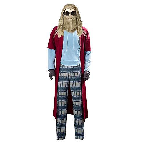 JinYiny Disfraz de Thor Gordo Traje de superhéroe de Halloween Traje de Cosplay Sudadera con Capucha con Peluca Thor Pantalones de Capa Guantes Conjunto Completo para Hombres Adultos