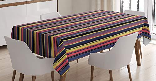 ABAKUHAUS Moderno Mantele, Geométrica de los estípites de la Vendimia, Estampado con la Última Tecnología Lavable Colores Firmes, 140 x 200 cm, Multicolor