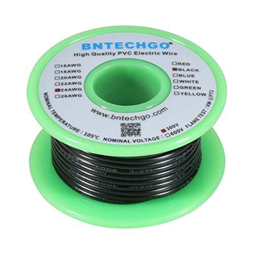 Cable eléctrico BNTECHGO 24 AWG 1007, calibre 24, PVC, 1007, alambre trenzado, 300 V, alambre de cobre estañado negro, 50 pies por carrete para bricolaje