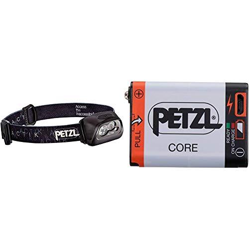 PETZL Erwachsene Actik Stirnlampe, Black, One Size & Core Akku für Stirnlampen mit Hybrid Concept