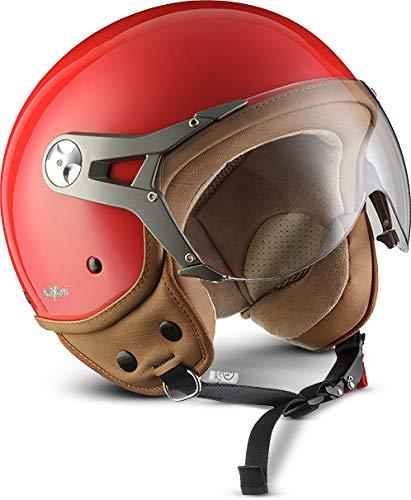 "SOXON® SP-325 Mono ""Red"" · Jet-Helm · Motorrad-Helm Roller-Helm Scooter-Helm Moped Mofa-Helm Chopper Retro Vespa Vintage Pilot Biker Helmet · ECE 22.05 Visier Schnellverschluss Tasche S (55-56cm)"