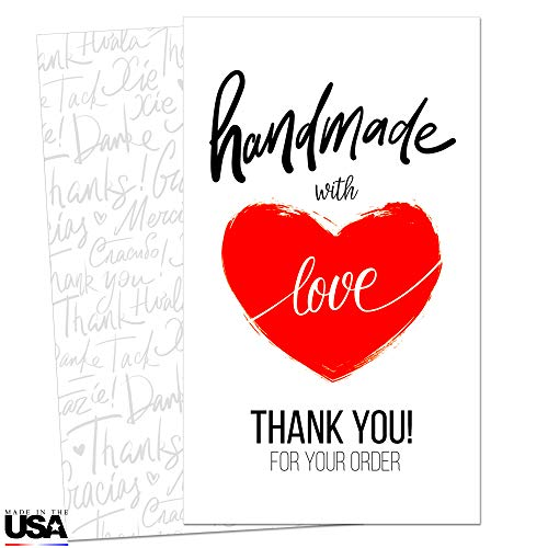 85 Thank You Cards for Small Business - Handmade with Love Note Cards - Thank You for Your Order Cards - Customer Appreciation Notes - Package Insert - Pen Friendly Back - Business Card Size