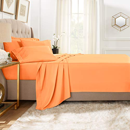 Clara Clark Premier 1800 Collection 6pc Bed Sheet Set with Extra Pillowcases - Queen, Apricot Orange