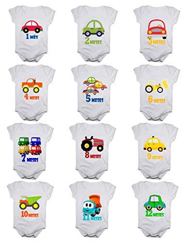Kit Body de Bebê Mês Aniversário Carrinhos 12 Bodies