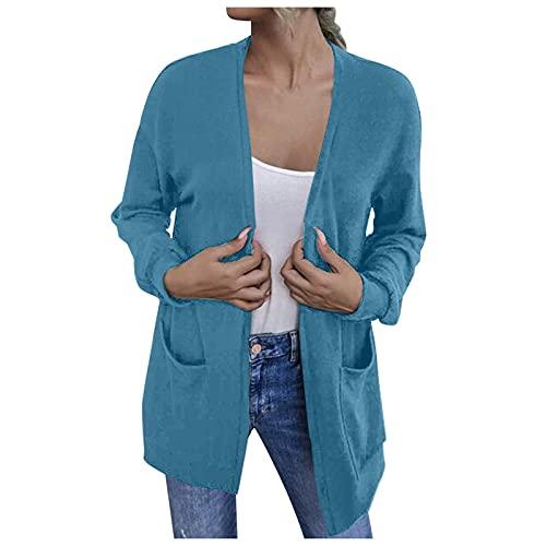 Zldhxyf Cardigan elegante a maniche lunghe, sottile, casual, con orlo aperto, maglione leggero (blu, L)