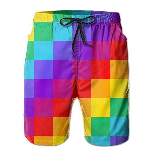 ZQHRS Shorts de Baño de Surf Gay Pride para Hombre con Bolsillos Shorts de Secado Rápido con Estampado 3D Talla M