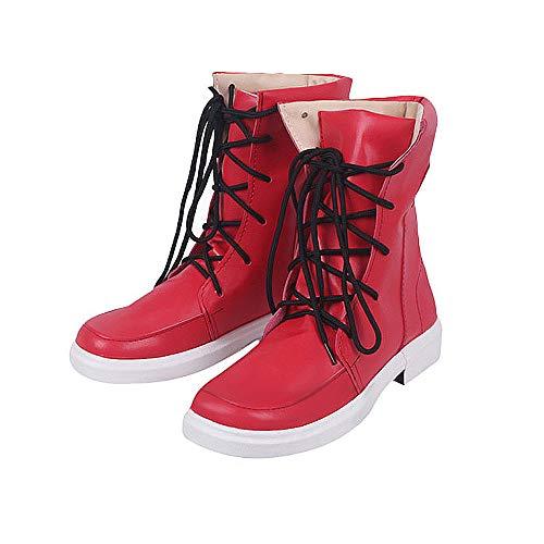 My Hero Academia Unisex Zapatos Rojo PU Botas Izuku Midoriya Cosplay Zapatos Casuales Bota de Cuero Disfraz para Hombres Mujeres