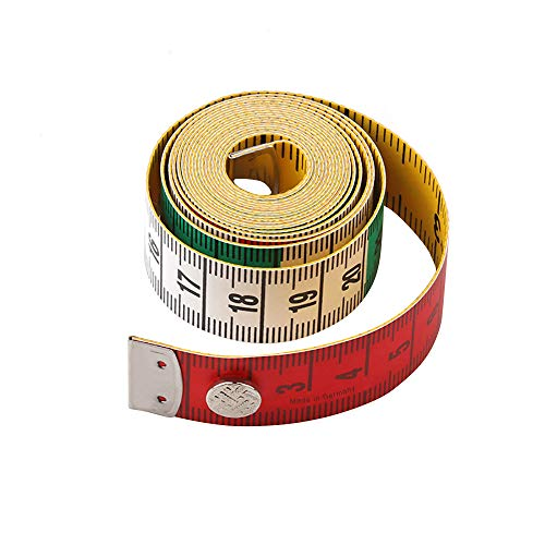 Jimjis メジャー 裁縫用 自在曲線定規 テーラーメジャー 採寸 テープメジャー 洋裁 定規 巻尺 150cm/60inch 胸囲 布 巻き尺 スナップ付き 両面目盛 可愛い 携帯便利 (レッド)